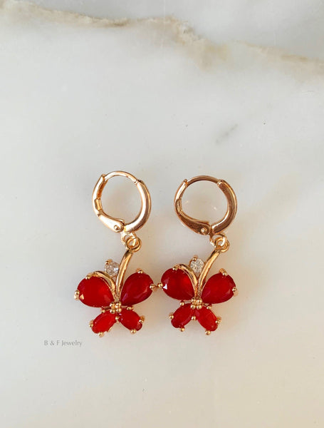 Butterfly Dangle Earrings In Red