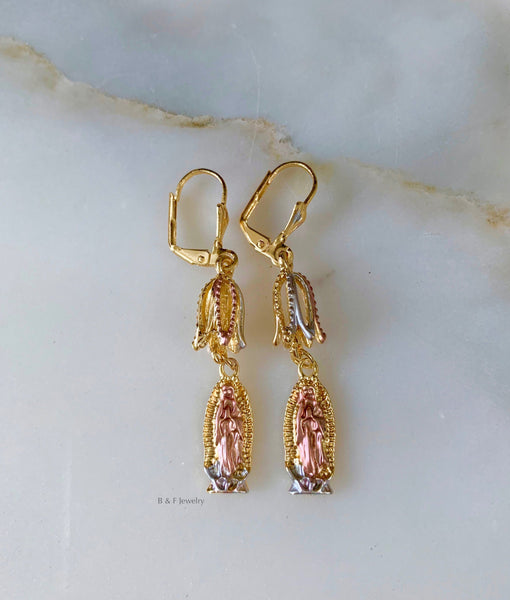 Tricolor Gold Plated Virgin Mary Dangle Earrings