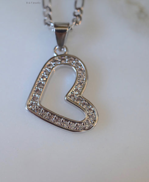 Diamond Inspired Slanted Heart Pendant