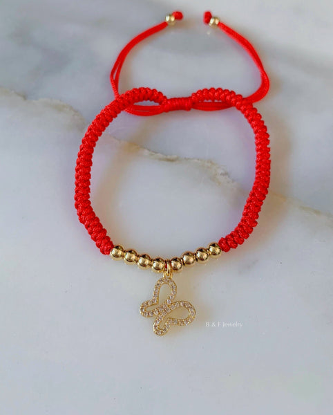 Gold Plated Woven Red String Butterfly Bracelet