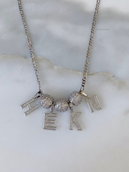 White Gold Plated Diamond Inspired 1 to 4 Letter Necklace