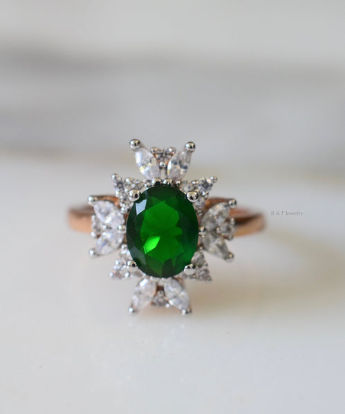 Gold Plated Emerald And Diamond Inspired Ring