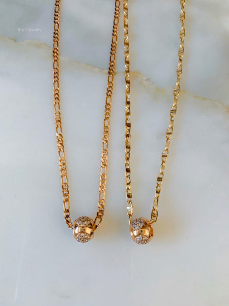 Gold Plated Floral CZ Ball Necklace In 2 Styles