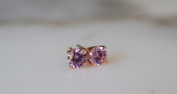 On Sale! Rose Gold Plated CZ Pink Studs