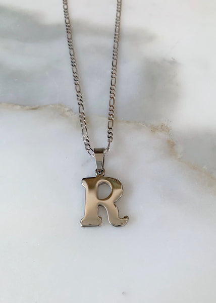 Unisex White Gold Plated Initial Necklace