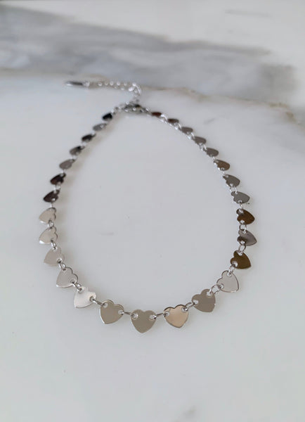 White Gold Plated Heart Anklet