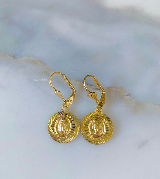 Gold Plated Virgin Mary Dangle Earrings