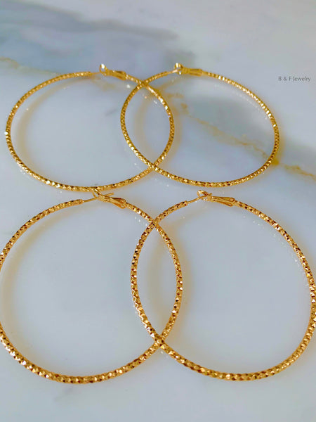 Diamond Cut Gold Plated Hoops In 2 Sizes