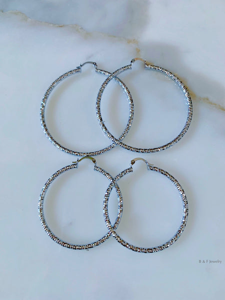 White Gold Plated Diamond Cut Hoops In 2 Sizes