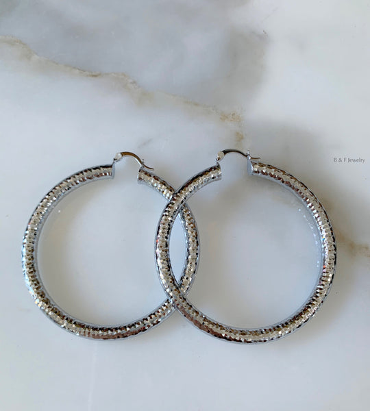 White Gold Plated Diamond Cut Tube Hoops