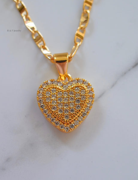 Gold Plated Diamond Inspired Heart Pendant With Multiple Chain Style Choices