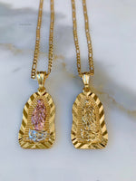 Large Unisex Gold Plated Virgin Mary Necklace In Two Styles