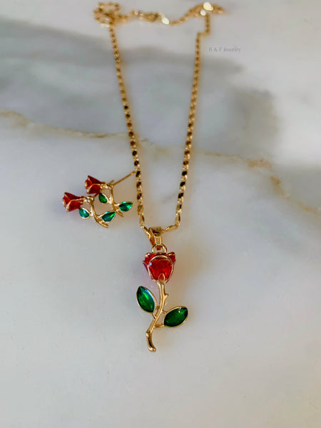 Gold Plated Enamel Rose Necklace And Earring Set
