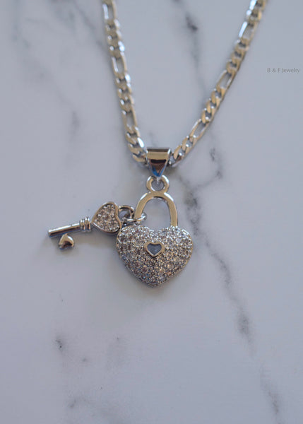 White Gold Plated Diamond Inspired Heart And Key Necklace