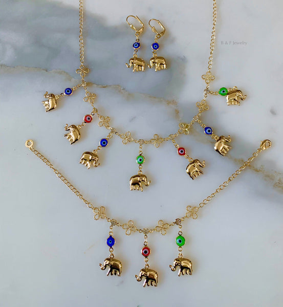 Gold Plated Breakable Elephant And Eye Jewelry Set