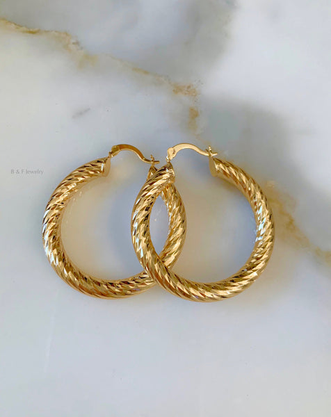 Gold Plated Diamond Cut Tube Hoops