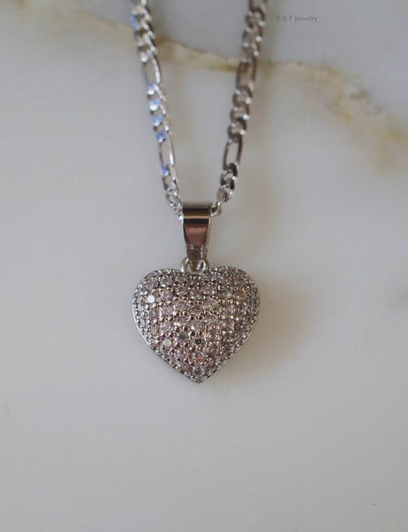 White Gold Plated Diamond Inspired Puffy Heart Necklace