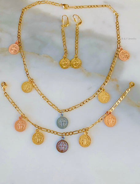Tricolor Gold Plated Breakable Saint Benedict Jewelry Set