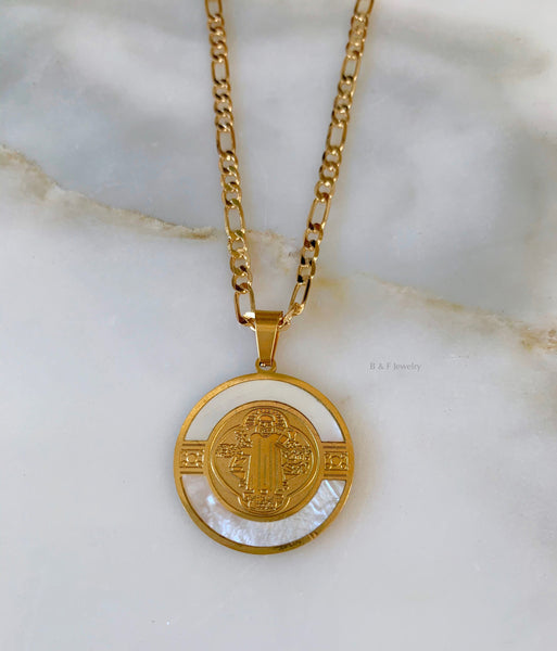 Gold Plated Saint Benedict Necklace