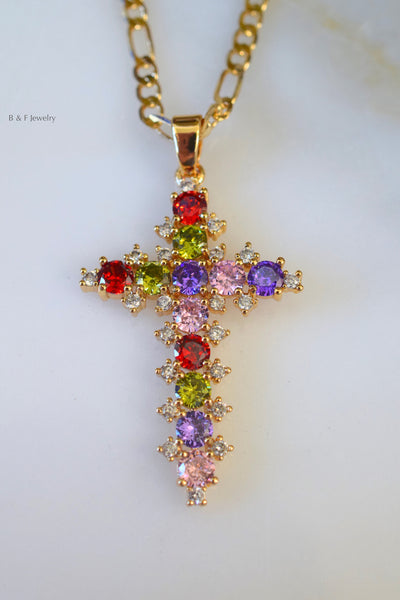 Gold Plated Multicolor Stone Cross Necklace