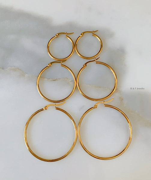 Gold Plated Thinner Tube Hoops In 3 Size Options