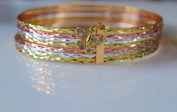 Tricolor Gold Plated 7 Bangle set- Has Matching Ring