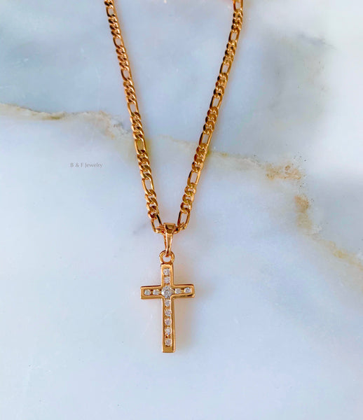 Rose Gold Plated Diamond Inspired CZ Cross Necklace