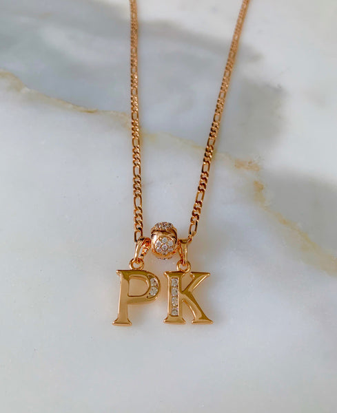 Floral Gold Plated 2 To 6 Initial Necklace