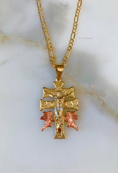Tricolor Gold Plated Caravaca Cross Necklace