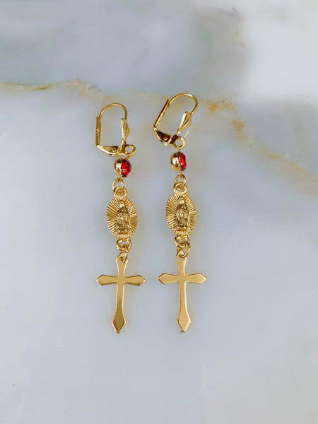 Gold Plated Virgin Mary And Cross Drop Earrings
