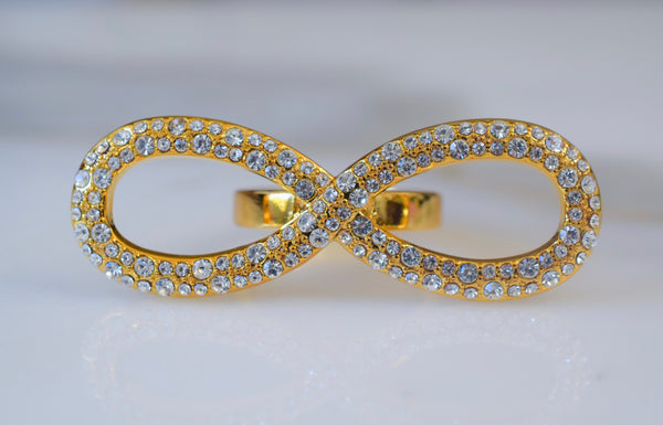 Gold Plated Diamond Inspired Large Infinity Ring