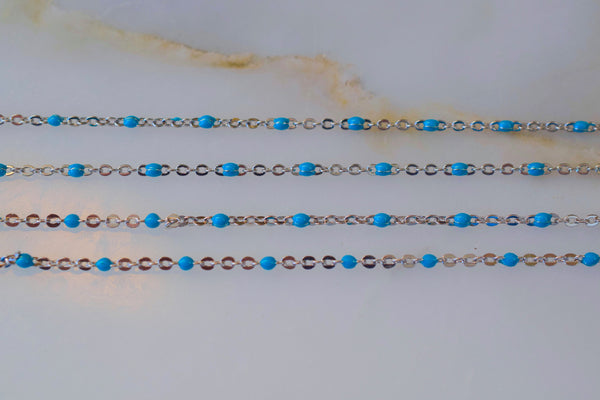White Gold Plated Turquoise Color Bead Chain