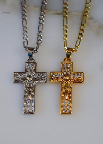 Diamond Inspired White Or Yellow Gold Plated Crucifix Necklace