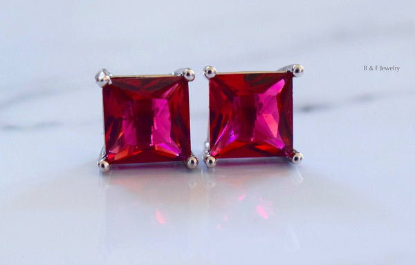 On Sale! White Gold Plated Princess Cut Ruby Inspired Studs