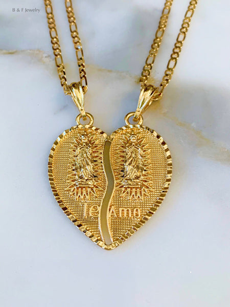Gold Plated Virgin Mary Breakable Heart Pendant With Two Chains