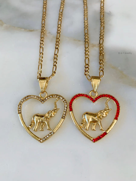 Gold Plated Elephant Heart Necklace In Two Colors