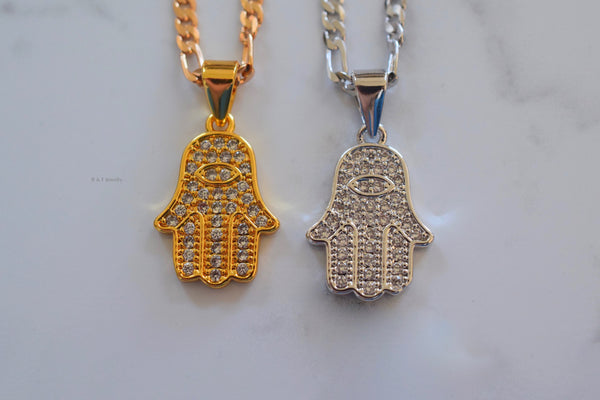 Yellow Or White Gold Plated Hamsa Necklace