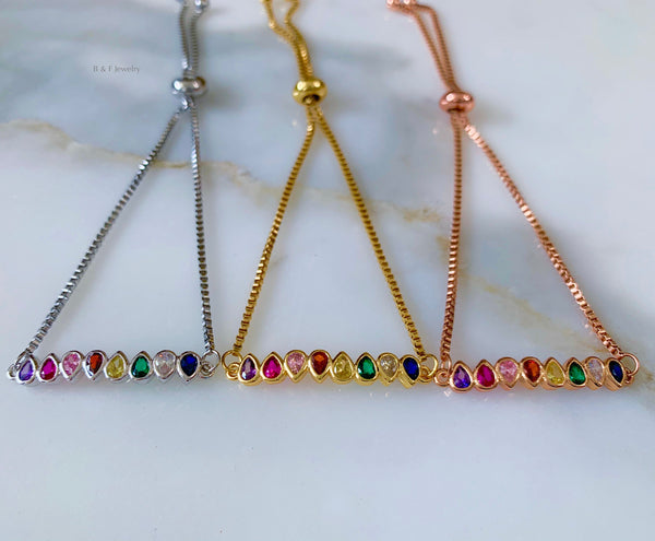 Yellow, White, Or Rose Gold Plated Rainbow Bracelet