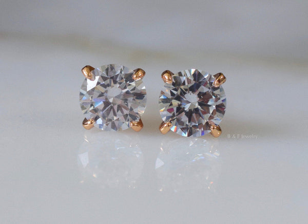 Rose Gold Plated Round CZ Studs In 2 Styles