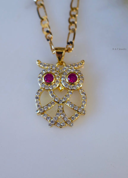 Gold Plated Diamond And Ruby Inspired Owl Necklace With 2 Chain Style Choices