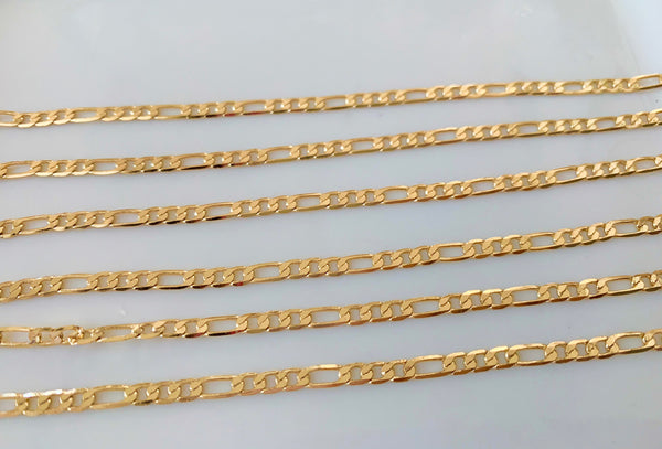 Yellow Gold Plated Figaro Chain In Multiple Lengths and Widths