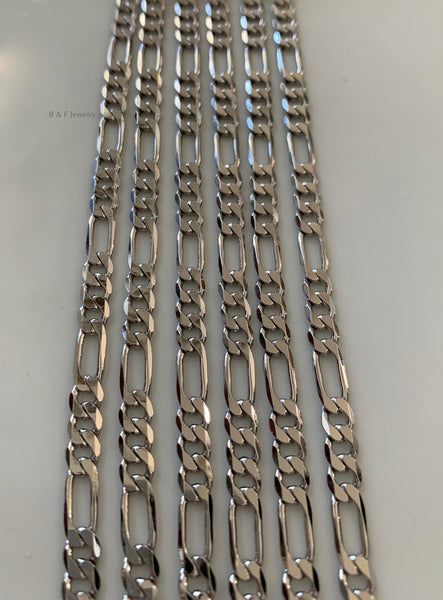 Unisex Extra Thick White Gold Plated Figaro Chain In Multiple Lengths
