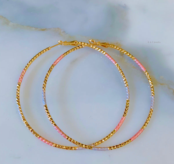 Large Tricolor Gold Plated Diamond Cut Hoops