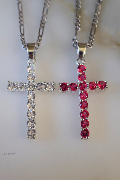 White Gold Plated Diamond Or Ruby Inspired Cross Necklace