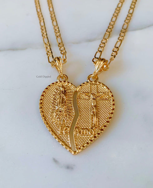 Jesus And Mary Breakable Heart With Two Chains