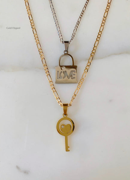 Stackable Lock And Key Necklaces Sold As Set Or separately