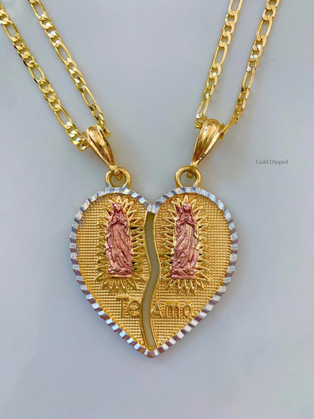 Tricolor Gold Plated Virgin Mary Breakable Heart Pendant With Two Chains