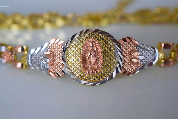 On Sale: Tricolor Gold Dipped Virgin Mary Bracelet