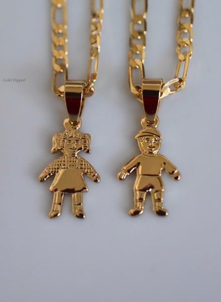 Gold Plated Children Necklace Featuring 1 To 4 Children