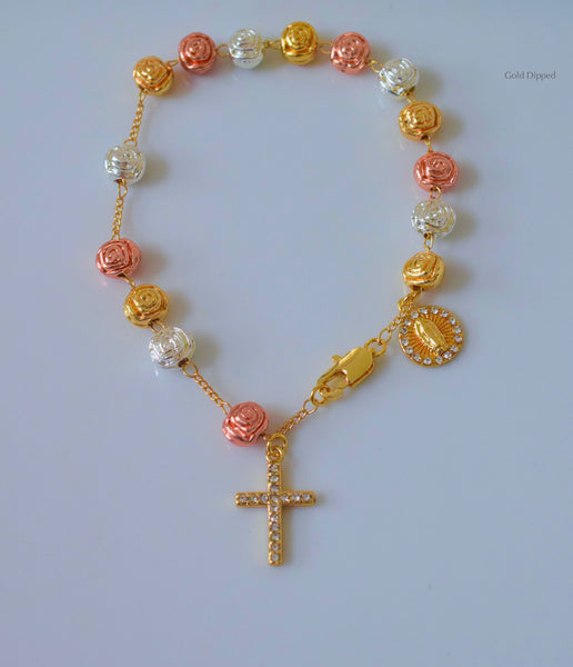 Tricolor Gold Plated Rose Rosary Bracelet